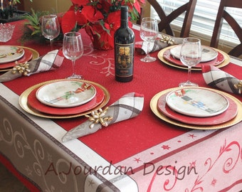 French Provence Champagne Jacquard Woven Teflon Coated Tablecloths - 100% Pure French Cotton Tablecloth - Great print for Parties!