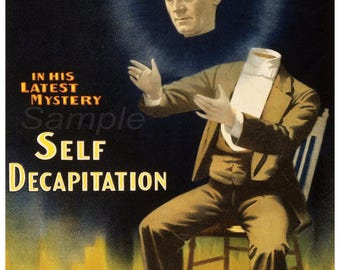 Vintage 1897 Kellar Self Decapitation Magic Poster Print