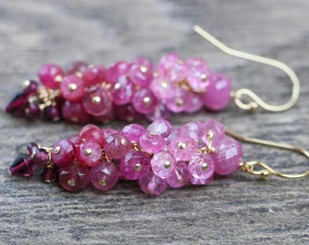 Pink Tourmaline Earrings, Garnet Earrings, Pink Sapphire Earrings, Pink Topaz Earrings Ruby Cluster Earrings, Gemstone Earring Pink Earring