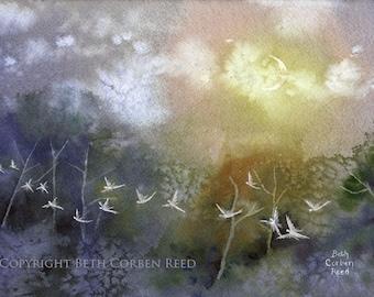 "Fairy Art ""Misty Fairy Night"" - Original Painting"