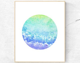 ALOHA WALL ART // Aloha, watercolour, watercolor, printable wall art, love, peace, compassion, hello, home decor, original artwork, circular