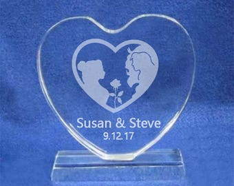 "Beauty and the Beast 5"" crystal heart wedding cake topper personalized engraved Belle"