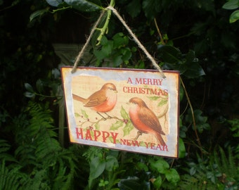 Vintage Style English Metal Christmas and Happy New Year Sign.