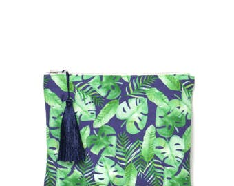 Small zipped Pocket made in France, cotton and linen to foliage and monstera on blue marine print,