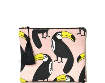 Small zipped Pocket made in France, cotton and linen print toucans, black Pompom
