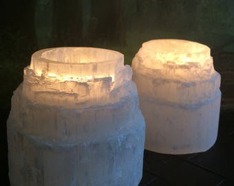 Pair of Selenite tower candle holders