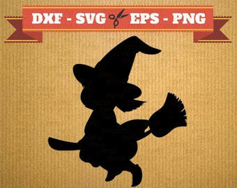 Witch svg vector files for cricut, halloween cutting files, clipart witch, DXF files halloween, silhouette witch, svg halloween, cricut