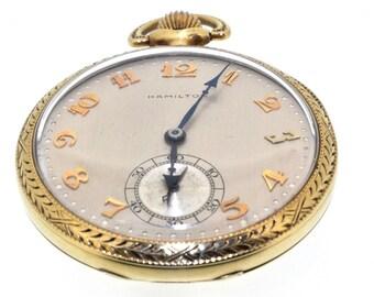 Antique Vintage Solid 14K Yellow Gold Hamilton Open Face Pocket Watch: Excellent condition