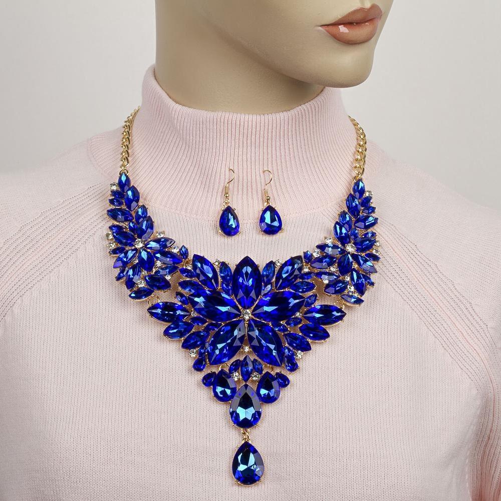 blue formal statement necklace rhinestone bib