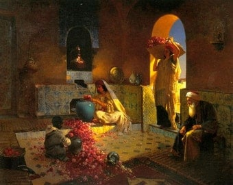 Collecting Roses - Egyptian Art - Arabian Art - Oil Painting On Canvas