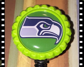 Seattle Seahawks Name Badge Reel Lanyard Pull ID Holder
