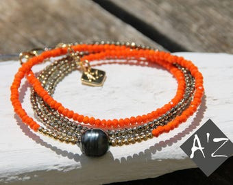 Jewelry 3 in 1'Z pearls of Tahiti with for 3 positions as a bracelet, necklace and ras Orange neck