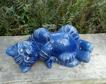 Gabriel Stoneware Mid-Century Happy Blue Tabby Kitty Cat Ceramic Pottery Figurine Sweden