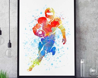 Football Art Print, Watercolor Print, Wall Art Decor, Sports Decor, Football Mom, Home Decor, Birthday Gift For Him (N025)