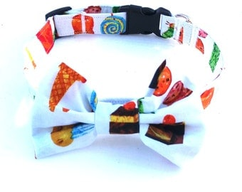 Dog Collar, Cake, Cupcake, Personalised Collar, Personalized Collar, Handmade Dog Collar, Fabric Dog Collar, Bow Tie Collar, Dog Bow Tie