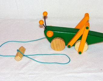 Handmade Wooden Grasshopper Pull Toy, Meadow Green and Yellow