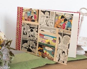 """Carnet , livre d'or, carnet de voyage, illustration vintage """"le club des cinq"""" E.Blyton, reliure japonaise, rouge, fait main, papier velin"""