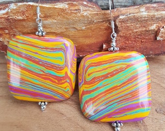 Large Square Multicolor Calsilica and Sterling Silver Earrings, Large Square Calsilica Drop Earrings, Rainbow Color Large Square Earrings