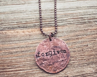 Custom Quote Rustic Copper, Smashed Penny Necklace