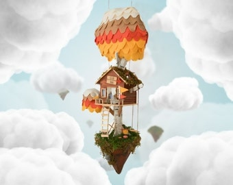 Floating Island Tree House - Hanging Nursery Decor - Kids Bedroom Art - Suspended Decoration - Cute Night Light - Club House - Fun Design