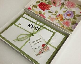 Floral Boxed Wedding Invitations, Color Wedding Invitations, Couture Invitations, Box Wedding Invitations, Floral, 1 INVITATION
