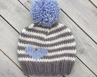 Boy Heart Beanie, Baby Boy Striped Knit Hat, CHD Infant Hat, Going Home Outfit, Newborn Photography Prop, Boy Knit Winter Hat, Baby Boy Gift