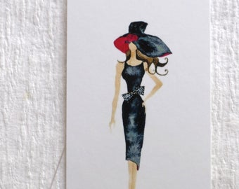 100 PRICE TAGS HANG Tags Retail Tags Boutique Tags Cute Model With Black Hat  Girl Clothing Tags With 100 Plastic Loops