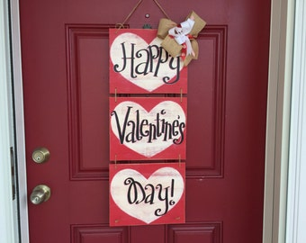 Valentine door hanger, Valentine wreath, Valentine decor, Happy Valentine's Day, Heart door hanger
