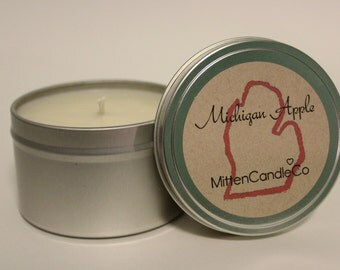 Michigan Apple Scented Soy Candle Tin or Wax Melt - Fresh Year Round Scent - 4 or 8 ounce