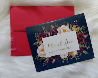 Navy And Marsala Thank You Cards, Wedding Thank You Cards, Wedding Cards, Bridesmaids Cards, Navy Wedding Cards