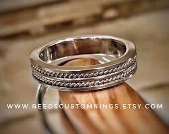 Sterling Silver Wedding Band - Silver Wedding Ring - Silver Rope Ring - Sterling Silver Wedding Ring - Silver Twist Ring - Silver Band