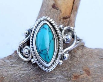 Turquoise ring,Turquoise  Silver Ring, Silver Turquoise Ring,92.5% solid sterling Silver Ring, Sterling Silver Ring, size 3-12(USA Standard)