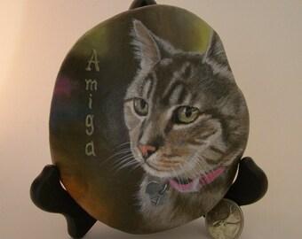 Custom pet portrait,Painted stone,Cat portrait,cat memorial painting,Memorial rock,pet memorial,painted rock,personalized pet portrait, cat