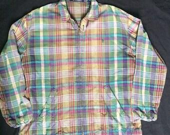 Vintage Polo RL Polo Sport Polo Stadium Zip Tartan Harrington Jacket