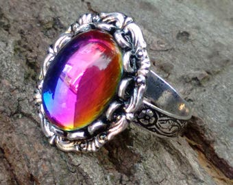 Rainbow Ring, Czech Glass Ring, Blue Vitrail Ring, Color Changing Ring, Bohemian Glass Ring, Boho Jewelry, Gypsy Ring, Chakra Ring