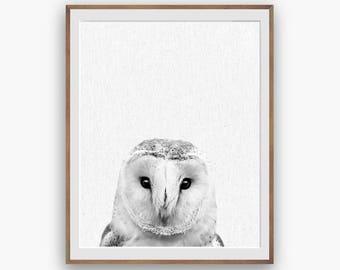 Barn Owl Print, Owl Decor, Owl Art Decor, peekaboo print, Nursery Art, Digital Download, Large Printable, Forest Animals, Black and White