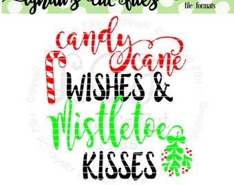 Candy Cane Wishes //Christmas//SVG/DXF/EPS file