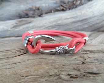 EXPRESS SHIPPING,Women's Wrap Leather Bracelet,Candy Pink Leather Bracelet,Hook Bracelet,Nauticial Bracelet,Summer Fashion,Mother's Day Gift