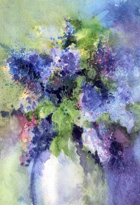 Purple Lilacs - signed print - lilacs - floral - flowers - bedroom art - garden art - Bonnie White - gorge art - watercolor paintings