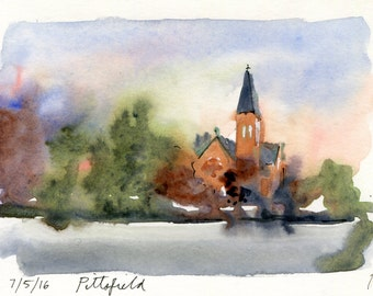 4x6 Original Watercolor Painting - Pittsfield MA