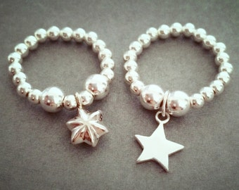 Sterling Silver 3D Puffed Star Charm Ring