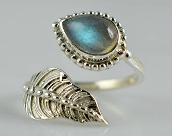 Labradorite Ring ~ Blue Labradorite Ring ~ Leaf Ring ~ 925 Sterling Silver ~ Silver Ring Jewelry ~ Stone Ring ~ Sizes Available 4 to 13 (US)
