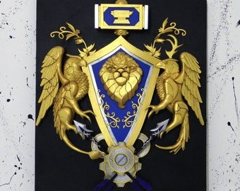 World of Warcraft Alliance crest with LEDs wall art