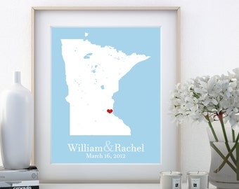 Minnesota Art Wall Minnesota Wall Art Minnesota Map Minnesota Gifts Wedding Gifts For Daughter From Mother 48 Year Anniversary Gift Artwork