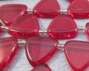 Red Glass Top Drilled Triangle Beads 25pcs