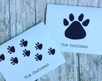 Paw Print Notecards & Envelopes, Set of 10, Dogs, Cats