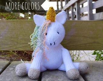 Plush Unicorn, Stuffed Unicorn, Stuffed Animal, Unicorn Doll, Knit Toy, Baby Girl Gift, Soft Toy, Custom Made Toy, Knit Unicorn, Kids Toy