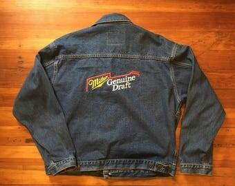 "VTG International Denim ""Millar Genuine Draft"" Jean Jacket Embroidered jacket 90's jean jacket XL"