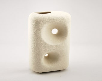 Bertoncello Vase by Roberto Rigon - White Rough Textured Italian Ceramic Vase
