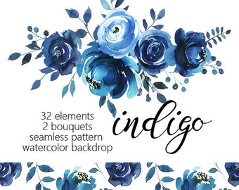 Indigo Watercolor Floral Design Collection Digital Clipart ...